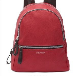 Calvin Klein Elaine Backpack. Red/Silver. NWT.